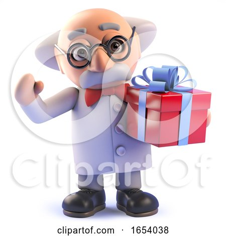 Cartoon Mad Professor Scientist Character Holding a Gift Wrapped Present by Steve Young