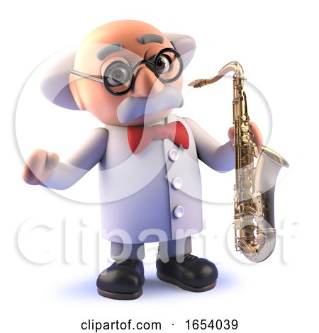 Crazy Cartoon Mad Scientist Character in 3d Playing a Saxophone by Steve Young