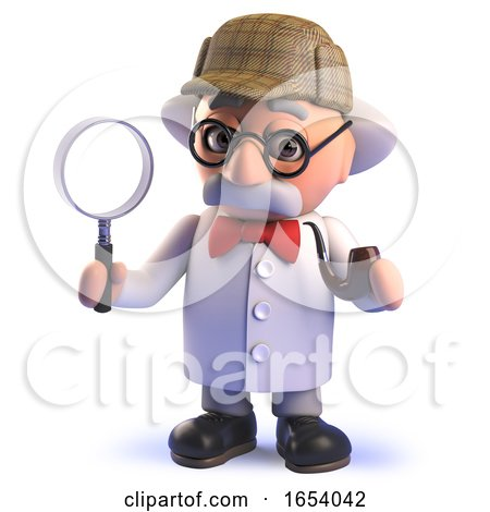 Crazy Mad Scientist Cartoon Character in 3d Dressed like Sherlock Holmes Holding a Magnifying Glass by Steve Young