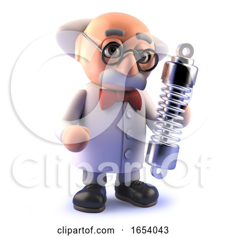 Cartoon Mad Scientist in 3d Holding a Vehicle Suspension Shock Absorber by Steve Young