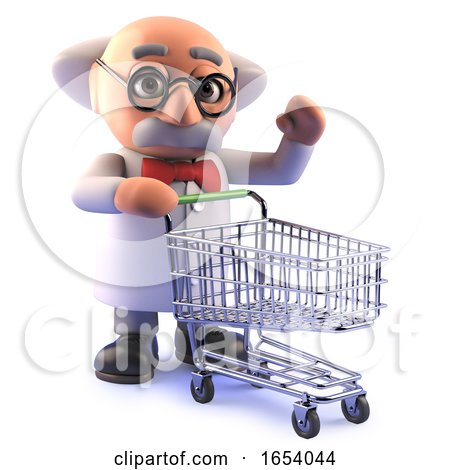 Cartoon 3d Mad Scientist Professor Character with a Shopping Trolley by Steve Young