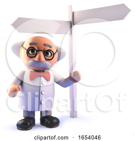 3d Cartoon Mad Scientist Standing Next to a Sign Post by Steve Young