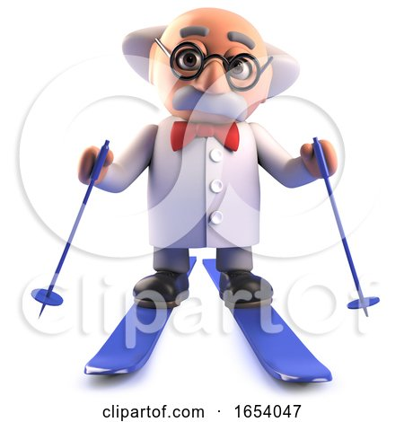 3d Cartoon Mad Scientist Professor Is Skiing in the Snow by Steve Young