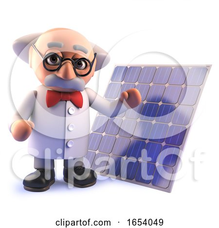3d Cartoon Mad Professor Scientist Character with a Solar Cell Energy Panel by Steve Young