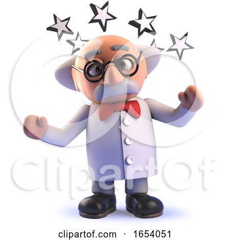 Stunned 3d Cartoon Mad Scientist Character with Stars Round His Head by Steve Young