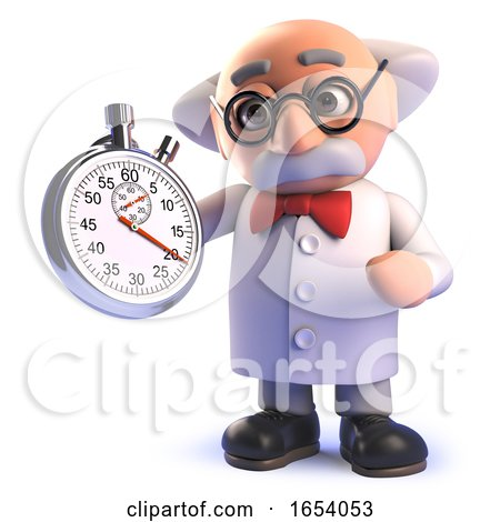 Cartoon 3d Mad Scientist Character Holding a Stopwatch by Steve Young