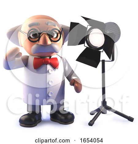 Cartoon Mad Scientist Professor in 3d with a Studio Spotlight by Steve Young