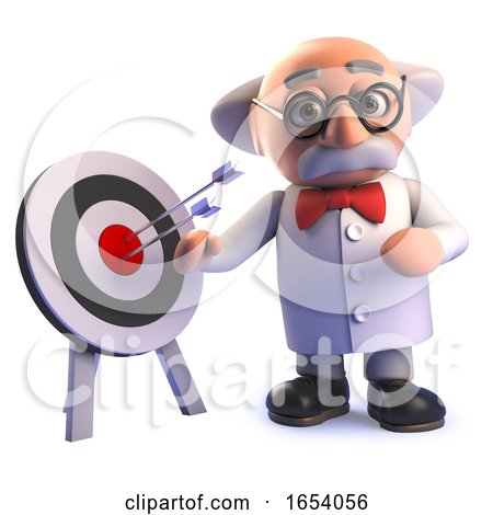 Cartoon 3d Mad Scientist Professor Standing by a Target with Arrows in It by Steve Young