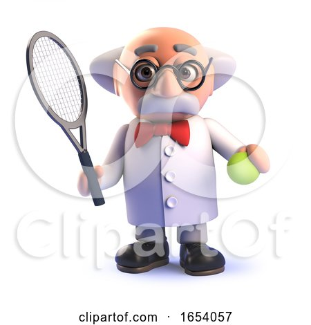 Cartoon 3d Mad Scientist Character Playing Tennis by Steve Young