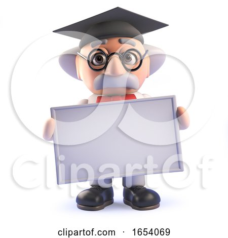 Crazy Mad Professor Scientist Wearing a Mortar Board and Holding a Blank Sign in 3d by Steve Young