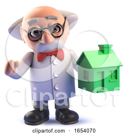 Mad Scientist Professor Character in 3d Holding a Green House by Steve Young