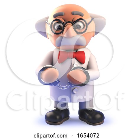 Cartoon 3d Funny Mad Scientist Character Wearing Handcuff Restraints by Steve Young