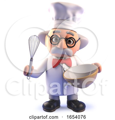 Mad Cartoon Scientist Character in 3d Wearing a Chefs Hat and Whisking in a Mixing Bowl by Steve Young