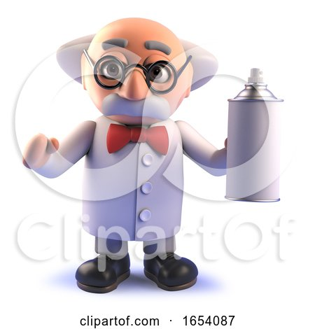 Mad Scientist Cartoon Character in 3d Holding an Aerosol Spraycan by Steve Young