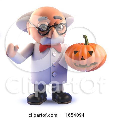 3d Crazy Mad Scientist Character Holding a Halloween Pumpkin by Steve Young