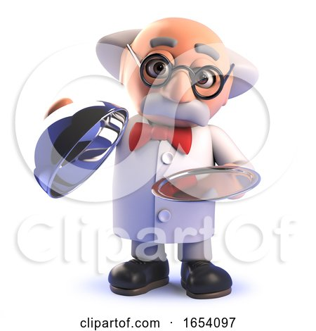 Funny Cartoon 3d Mad Scientist Character with Silver Platter Vip Service by Steve Young