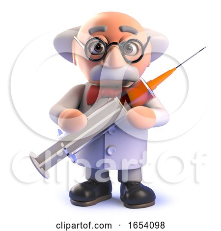 Crazy Mad Scientist in 3d Holding a Syringe Full of Drugs by Steve Young