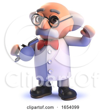 3d Cartoon Mad Scientist Professor Blows the Whistle by Steve Young