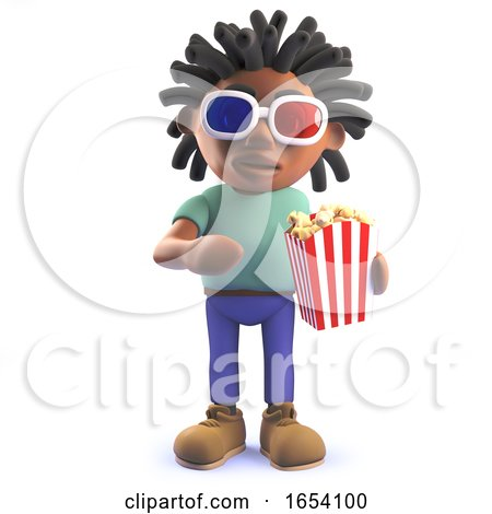 African Rastafarian Man in 3d Eating Popcorn and Wearing 3d Glasses by Steve Young