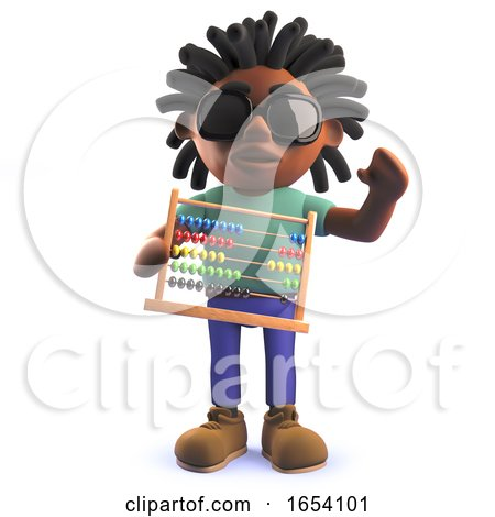 Rastafarian African Man in 3d Holding an Abacus by Steve Young