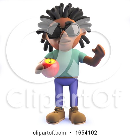 African Rastafarian Man in 3d Holding an Apple by Steve Young
