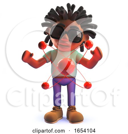 3d Black African Man Studying Nuclear Atom with Protons and Neutrons by Steve Young