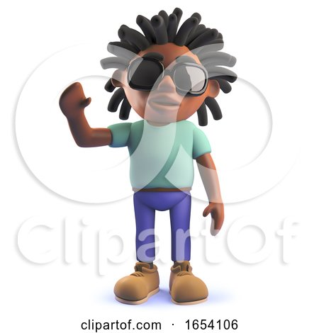 3d Black African Rastafarian Man Waving a Cheerful Hello by Steve Young
