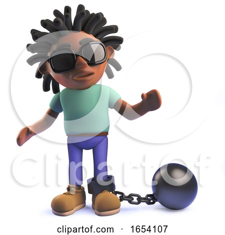 3d African Rastafarian Man in 3d with a Ball and Chain by Steve Young