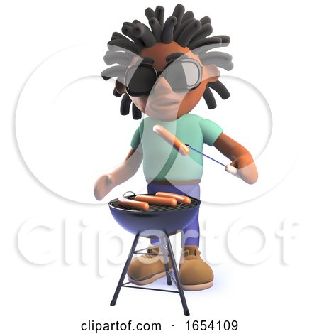 Black African Male Character in 3d Cooking a Barbecue Bbq by Steve Young