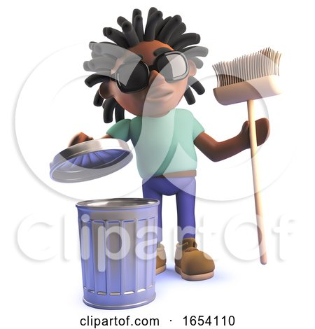3d Black African Dreadlocked Man with Trash Can and Broom by Steve Young
