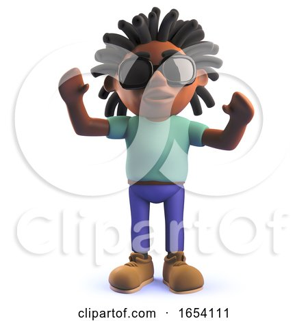 Black African Dreadlocked Character Male in 3d with His Arms in the Air by Steve Young