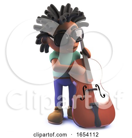 Black African American Man in 3d Playing a Double Bass by Steve Young