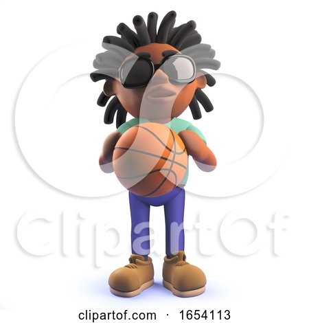 Black African Male Character in 3d Holding a Basketball by Steve Young