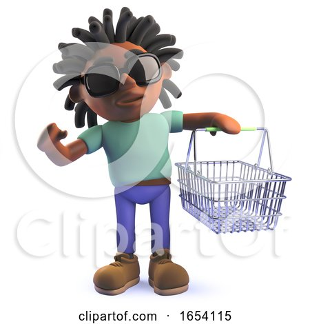 African Rastafarian Man in 3d Holding a Shopping Basket by Steve Young