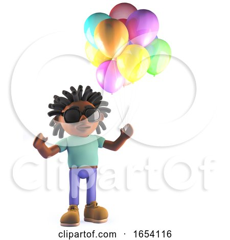 3d African Rastafarian Man Holding Some Party Balloons by Steve Young