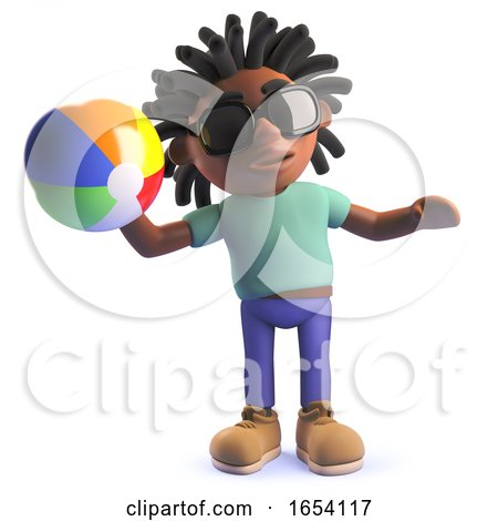 Black Man with Dreadlocks Playing with a Beach Ball, 3d Illustration by Steve Young