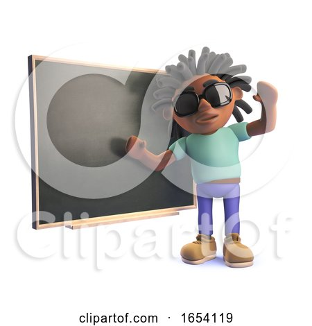 3d Black Man with Dreadlocks Teaching at a Blackboard by Steve Young