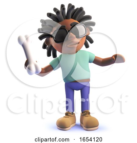 Black Man with Dreadlocks Throwing a Bone for His Dog, 3d Illustration by Steve Young