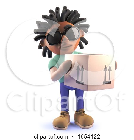 Black Man with Dreadlocks Delivering a Cardboard Box, 3d Illustration by Steve Young