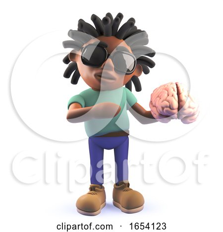 Dreadlocked Black Man Holding a Human Brain, 3d Illustration by Steve Young