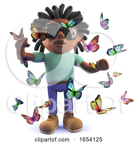 Black Man with Dreadlocks Surrounded by Pretty Butterflies, 3d Illustration by Steve Young
