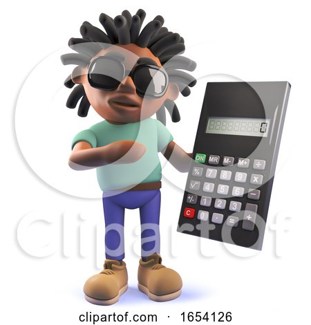 Black Man with Dreadlocks Holding a Digital Calculator, 3d Illustration by Steve Young