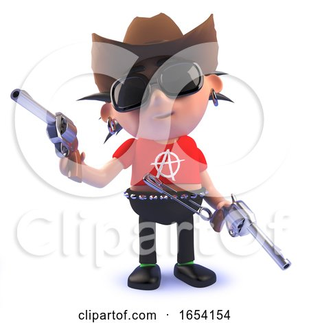 3d Punk Rocker Character Dressed As a Cowboy with Guns by Steve Young