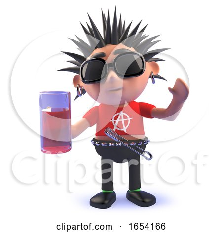 3d Vicious Punk Rocker Character in 3d Drinking a Pint of Lager by Steve Young