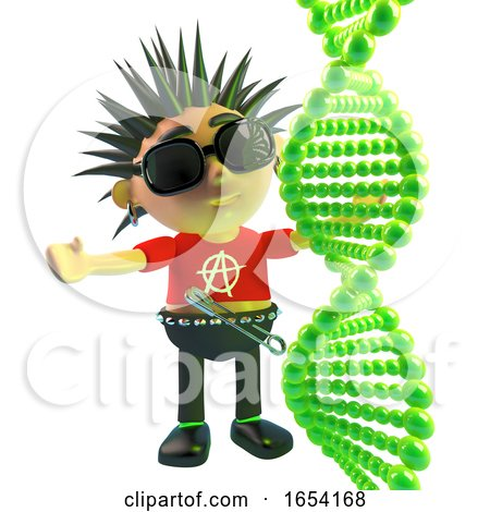 Vicious Punk Rock Character Looking at a DNA Strand, 3d Illustration by Steve Young