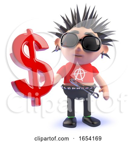 Vicious Punk Rock Character Holding a US Dollar Currency Symbol, 3d Illustration by Steve Young