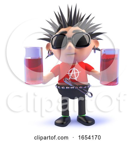 3d Vicious Punk Rock Character Holding Two Glasses of Drink by Steve Young