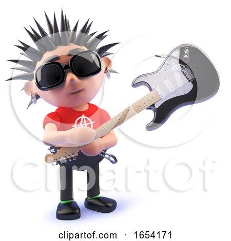 Punk Rocker Smashing an Electric Guitar, 3d Illustration by Steve Young