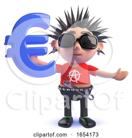 3d Vicious Punk Rocker Holding a Euro Currency Symbol by Steve Young
