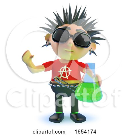 Rotten Punk Rock Character Holding a Flask of Green Liquid, 3d Illustration by Steve Young